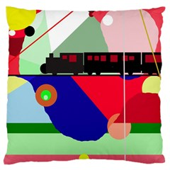 Abstract train Large Flano Cushion Case (One Side)