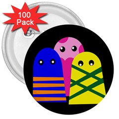 Three monsters 3  Buttons (100 pack)