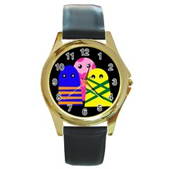 Three monsters Round Gold Metal Watch