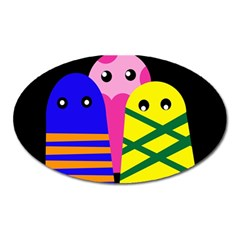 Three monsters Oval Magnet