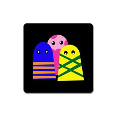 Three monsters Square Magnet
