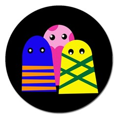 Three monsters Magnet 5  (Round)