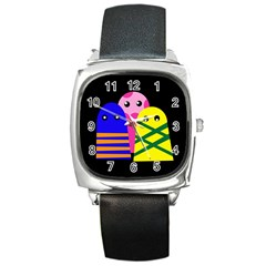 Three monsters Square Metal Watch