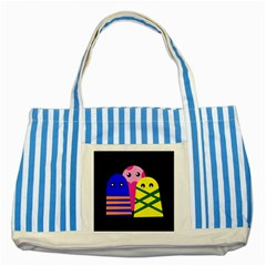 Three monsters Striped Blue Tote Bag