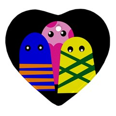 Three monsters Heart Ornament (2 Sides)