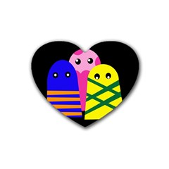Three monsters Rubber Coaster (Heart)