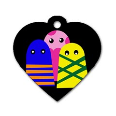 Three monsters Dog Tag Heart (One Side)