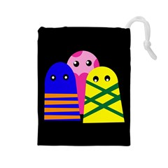 Three monsters Drawstring Pouches (Large)