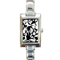 Black and white elegant pattern Rectangle Italian Charm Watch