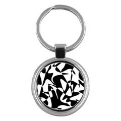 Black and white elegant pattern Key Chains (Round)