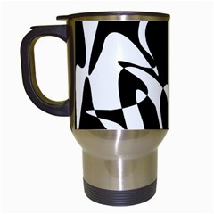 Black and white elegant pattern Travel Mugs (White)