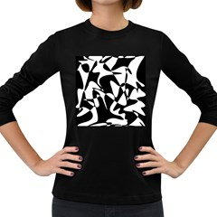 Black and white elegant pattern Women s Long Sleeve Dark T-Shirts