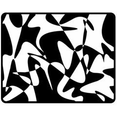 Black and white elegant pattern Fleece Blanket (Medium)