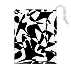 Black and white elegant pattern Drawstring Pouches (Extra Large)