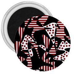 Red, black and white abstraction 3  Magnets