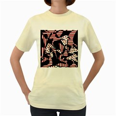 Red, black and white abstraction Women s Yellow T-Shirt