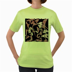 Red, black and white abstraction Women s Green T-Shirt