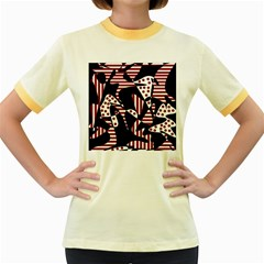 Red, black and white abstraction Women s Fitted Ringer T-Shirts