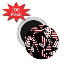 Red, black and white abstraction 1.75  Magnets (100 pack)