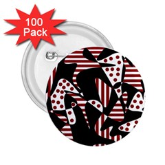 Red, black and white abstraction 2.25  Buttons (100 pack)