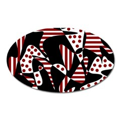 Red, black and white abstraction Oval Magnet