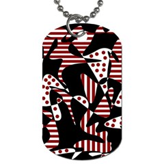 Red, black and white abstraction Dog Tag (One Side)