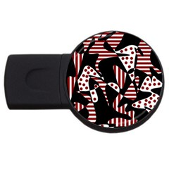 Red, black and white abstraction USB Flash Drive Round (1 GB)