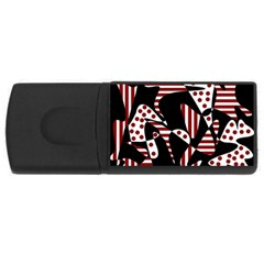 Red, black and white abstraction USB Flash Drive Rectangular (1 GB)