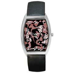 Red, black and white abstraction Barrel Style Metal Watch