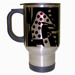 Red, black and white abstraction Travel Mug (Silver Gray)