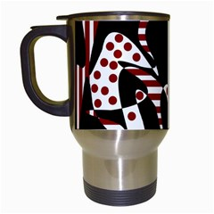 Red, black and white abstraction Travel Mugs (White)