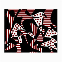 Red, black and white abstraction Small Glasses Cloth