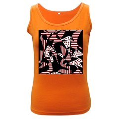 Red, black and white abstraction Women s Dark Tank Top