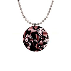 Red, black and white abstraction Button Necklaces