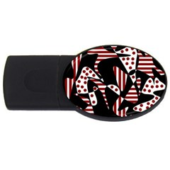 Red, black and white abstraction USB Flash Drive Oval (4 GB)