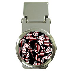 Red, black and white abstraction Money Clip Watches