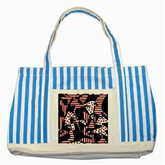 Red, black and white abstraction Striped Blue Tote Bag