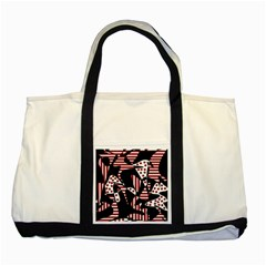 Red, black and white abstraction Two Tone Tote Bag