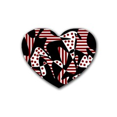 Red, black and white abstraction Rubber Coaster (Heart)