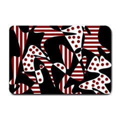 Red, black and white abstraction Small Doormat