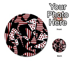 Red, black and white abstraction Multi-purpose Cards (Round)