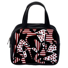 Red, black and white abstraction Classic Handbags (One Side)
