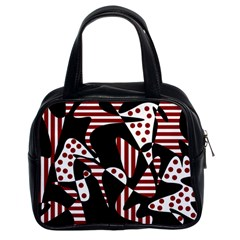 Red, black and white abstraction Classic Handbags (2 Sides)