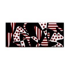 Red, black and white abstraction Hand Towel