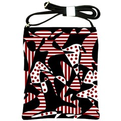 Red, black and white abstraction Shoulder Sling Bags