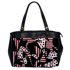 Red, black and white abstraction Office Handbags