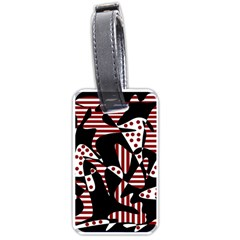 Red, black and white abstraction Luggage Tags (One Side)