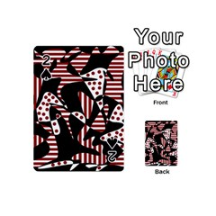 Red, black and white abstraction Playing Cards 54 (Mini)