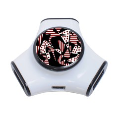 Red, black and white abstraction 3-Port USB Hub