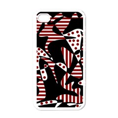 Red, black and white abstraction Apple iPhone 4 Case (White)